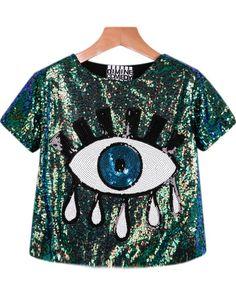 Green Short Sleeve Sequined Eye Print Blouse.