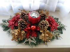 Your place to buy and sell all things handmade Centerpiece Christmas, Silver Centerpiece, Holiday Centerpieces, Candle Centerpieces, Christmas Table Decorations, Holiday Decor, Seasonal Decor, Silver Christmas, Green Christmas