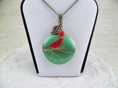 Bird Locket Cardinal Necklace Red Bird Locket by CreatedinTheWoods, $21.95