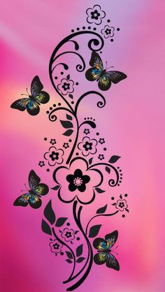 Fondo rosado con mariposas negras | Pink background with black butterflies - #wallpapers