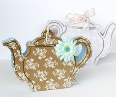 Little teapot gift box for teabags.  Not originally made with cuttlebug but it's a definite possibility!  Think of any teapot shape you like and draw your template!