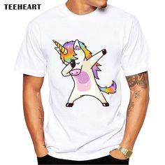 Summer Fashion Dabbing Unicorn T-Shirt Men Funny T Shirts Dabbing Hip Pop Unicorn/Cat/Zebra Tops Tee