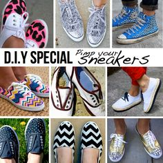 Pimp your sneakers! Get crafty and create your own personalized expression inspired by this Top 10 pick of awesome DIY Ideas & Tutorials for Sneakers, brought to you by from crafty corners of the DIY Blogosphere. Embark on a voyage of DIY discovery of studs, polka dot, super sparkly bling, chevron and budget versions of Miu Miu, Missoni and Prada designs! Links to full tutorials under each pic – Enjoy!