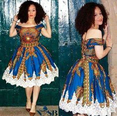 Chitenge dress with lace bottom. Kanyget fashions +