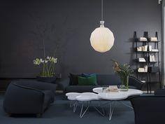 Swedese showroom Stockholm Grace sofa  - Grace easy chair Flower table - Libri