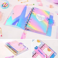 2018 NEW PVC Creative laser Rainbow notebook Quality Planner Diary Note Book Kawaii Journal Stationery School Tools Supplies Cool School Supplies, Office Supplies, School Suplies, Cute Planner, Planner Book, Weekly Planner, Cute Stationary, Cute Notebooks, Cute Journals