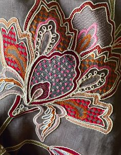 "Lovely embroidered flower from Colefax and Fowler - ""Bizet"" in chocolate."