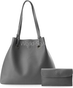 DUŻA TOREBKA DAMSKA TYPU WOREK SHOPPERKA + SASZETKA - POPIELATY - Galanteria skórzana - torebki damskie, portfele, teczki, aktówki, torby, saszetki. Sklep World-Style.pl