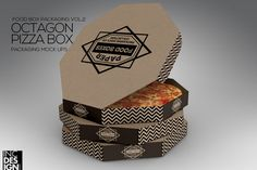 Octagon Pizza Box Packaging MockUp by INC Design on @creativemarket