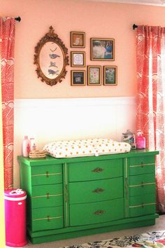 A joyful melody: nursery reveal: sadie's feminine and colorful space b Whimsical Nursery, Vintage Nursery, Green Dresser, Colorful Dresser, Coral Nursery, Pink And Green Nursery, Peach Walls, Coral Walls, Nursery Inspiration