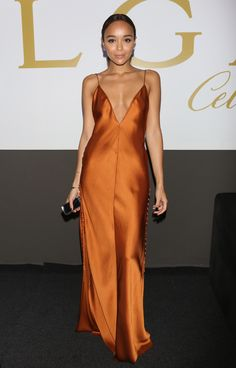 Ashley Madekwe is a bronze goddess in this Free People maxi dress