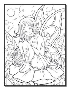 Раскраски «Феи и Эльфы» - «Ельфийка на цветке» Summer Coloring Pages, Unicorn Coloring Pages, Fairy Coloring Pages, Printable Adult Coloring Pages, Coloring Books, Kids Coloring, Diy Y Manualidades, Coloring Pages Inspirational, Colorful Drawings