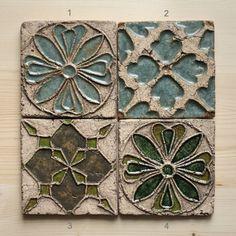 Handmade Ceramic Rustic Tiles for Kitchen/Bathroom Backsplash by HerbariumCeramics on Etsy