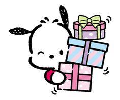 Pochacco Line Stamps Sanrio Hello Kitty, Hello Kitty Fotos, Hello Kitty Imagenes, Panda Wallpaper Iphone, Sanrio Wallpaper, Panda Wallpapers, Cute Wallpapers, Hello Kitty Characters, Sanrio Characters
