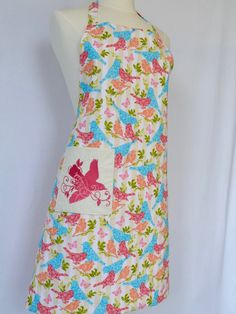Bird on Branches Reversible Apron with an Embroidered Pocket by 4EverydayEmbellished on Etsy