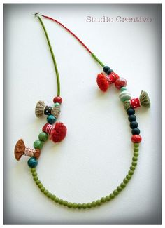 Crafty Collection - Necklace, by Xanthippe - Studio Creativo Textile Jewelry, Fabric Jewelry, Beaded Jewelry, Jewellery, Bridal Necklace, Diy Necklace, Necklaces, Ceramic Beads, Wooden Beads