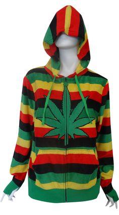 WebUndies.com Weedman Ganja Leaf Cozy Zip Front Hoodie