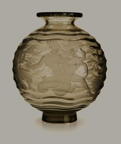 "Vicke Lindstrand (Swedish, 1904-1983), Orrefors, ""Mermaids"" Engraved Glass Vase enlarge this for details, very nice piece."