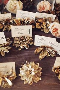 Succulent escort card holders that are spray painted gold. DIY wedding planner with ideas and tips including DIY wedding decor and flowers. Everything a DIY bride needs to have a fabulous wedding on a budget! Wedding Places, Wedding Day, Trendy Wedding, Wedding Reception, Forest Wedding, Reception Ideas, Wedding Gold, Wedding Pins, Reception Design
