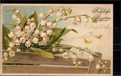 172.883 Pfingsten, Präge-AK Schrift, Maiglöckchen, Schmetterlinge, gl1906 | eBay