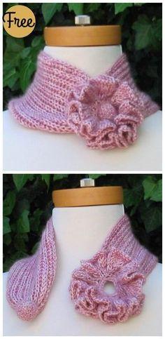 Self-Attaching Flower Scarf Free Knitting Pattern - Scarf . Self-Attaching Flower Scarf Free Knitting Pattern –