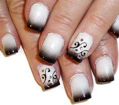 black tips n swirls nail art design - Nail Art Gallery