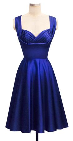 Honey Dress | Cobalt Satin | 50's Inspired Bridal Collection | Trashy Diva. I would love to wear this for @Heather Creswell Creswell Creswell Creswell Sewell's wedding but I don't think it's navy (more of a UK blue. But still cute!)