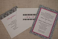 Fuchsia, white and black pattern wedding invitation, thank you note and reception insert.