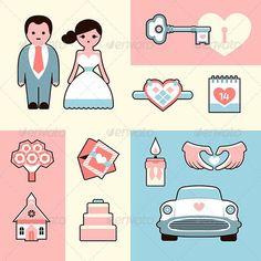 Wedding Icons Flat Illustrations Set #characters