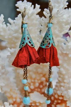 Lilygrace Scarlet Silk Fuschia Earrings with by LilygraceOriginals