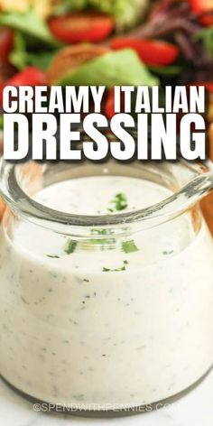 Creamy Italian Dressing doesn't have to come from a bottle. Our diy recipe tastes like the kraft or pizza hut versions, but without the preservatives and extra sugar! #spendwithpennies #creamyitaliandressing #dressing #dip #recipe #sauce #homemade #easy #pizzahut #best #diy Easy Dressing Recipe, Italian Dressing Recipes, Salad Dressing Recipes, Salad Dressings, Recipe For Creamy Italian Dressing, Healthy Ranch Dressing, Easy To Digest Foods, Sauces, Diy Recipe