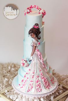 Handpainted bride in wedding dress cake Gorgeous Cakes, Pretty Cakes, Cute Cakes, Amazing Cakes, Fondant Cakes, Cupcake Cakes, Decoration Patisserie, Bridal Shower Cakes, Bridal Showers