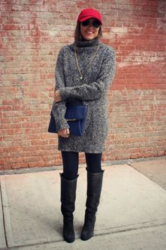 oversized sweater with tights and tall boots