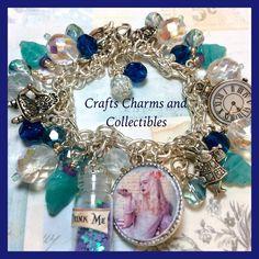 Alice in Wonderland ,handmade  altered art charm bracelet, ooak, ebsq, blue, ladies jewelry, beaded bracelet - pinned by pin4etsy.com