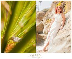www.caseyhphotos.com red headed bride like ariel west coast bride in Laguna Beach California in ocean at beach with destination wedding photographer Casey Hendrickson in Maggie Sottero gown with split