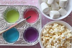 Paint popcorn and marshmallows with colored milk for a fun (and edible!) activity. FamilyFunmag