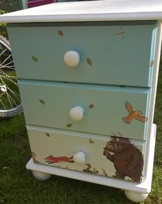 Children's painted bedroom chest of drawers by chalkinMad on Etsy