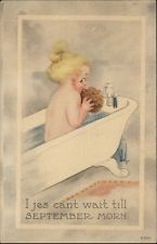 A/S BERNHARDT WALL Girl in Bath Tub SEPTEMBER MORN c1910 Postcard