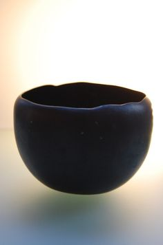 "Niisato Akio: Black Tea Bowl, 2011, Glazed porcelain, 5"" x 5"" x 3"""
