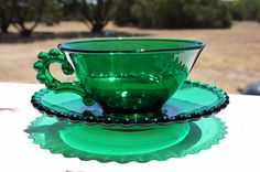 Vintage Emerald Green Clear Glass Cup & by TheSixtyFortyShop