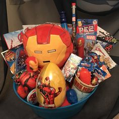 One made to order Avengers Gift Basket. That fun unique gift idea for that Avengers fan young and old. The basket contains all Avengers theme item Candy Gift Baskets, Kids Gift Baskets, Themed Gift Baskets, Christmas Gift Baskets, Christmas Bags, Easter Baskets, Basket Gift, Christmas Ideas, Kids Water Toys