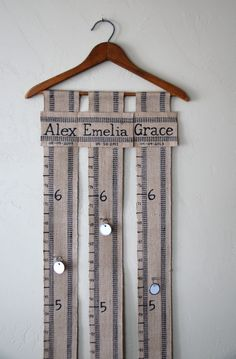 Handmade Custom Personalized FAMILY Growth Chart on Vintage Hanger with Red, Blue, Purple or Black Trimmed Jute Webbing