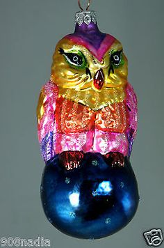 Christopher Radko Hooty Hoot Owl Christmas Ornament Blown Glass