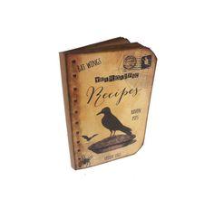 Halloween Journal, Witches Recipe Book, Kitchen Witch Notebook, Raven, Terrorific Recipes, Spider, Bat, Halloween Bridal Shower Book