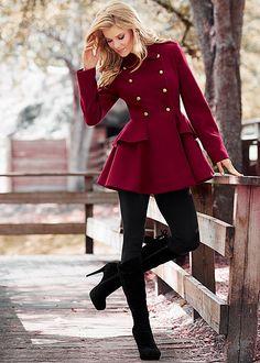 Burgundy Peplum coat from VENUS. Sizes S-XL!