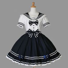 gothic lolita  sailor dresss  navy sweet lolita by kawaiishop777
