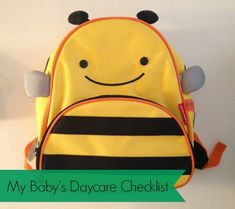 A list of items to pack in your baby's/toddler's diaper bag/backpack.