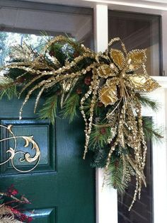 Christmas Swags::For Door Frames, Mirrors, Mantels and More. Christmas Swags, Christmas Door Decorations, Xmas Wreaths, Elegant Christmas, Gold Christmas, Outdoor Christmas, Winter Christmas, All Things Christmas, Christmas Holidays