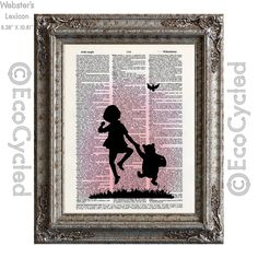 New to EcoCycled on Etsy: Winnie the Pooh & Christopher Robin at Sunset on Vintage Upcycled Dictionary Art Print Book Art Print (10.00 USD)