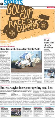 Gold Cup Race of Champions #NewspaperDesign #Layout #GraphicDesign #SprintCar…
